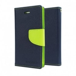 Samsung Galaxy S6 Edge Plus Θήκη Βιβλίο Μπλέ - Λαχανί Fancy Book Case Goospery Navy - Lime