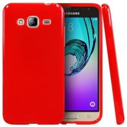 Samsung Galaxy J3 / J3 2016 Θήκη Σιλικόνης Kόκκινη Ultra Shine Silicone Case Red