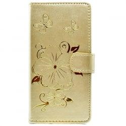 iPhone 6 / 6s Θήκη Βιβλίο Χρυσό Με Λουλούδια Book Case