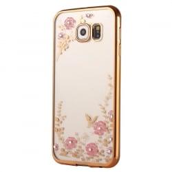 Samsung Galaxy S6 Edge Θήκη Σιλικόνης Με Χρυσό Περίγραμμα Και Ροζ Λουλούδια Με Στράς Silicone Case