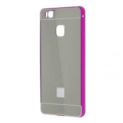 Samsung Galaxy S7 Edge Θήκη Αλουμινίου Με Πλάτη Καθρέφτη Ασημί Και Περίγραμμα Ροζ Mirror Hard Case Silver / Pink