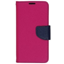 Samsung Galaxy Core 2 Θήκη Βιβλίο Ροζ - Μπλε Fancy Book Case Telone Hot Pink - Navy