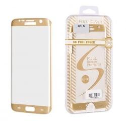 Samsung Galaxy S6 edge Εμπρός και Πλάγια 3D Full Cover Gold Χρυσή Προστατευτικό Τζαμάκι Tempered Glass