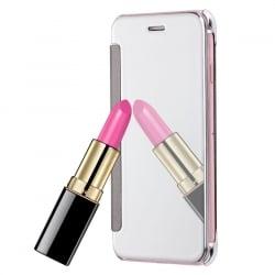 iPhone 7 Θήκη Βιβλίο Καθρέφτης Εμπρός - Πίσω Αλουμινίου Ασημί Book Case Mirror Silver