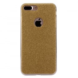 iPhone 7 Plus Θήκη Σιλικόνης Χρυσή Silicone Case With Glitter Gold