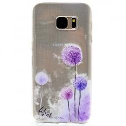 Samsung Galaxy S7 Edge Θήκη Σιλικόνης Μωβ Πικραλίδες Silicone Case