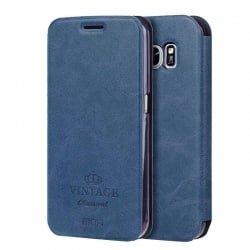 Samsung Galaxy S7 Θήκη Βιβλίο Σκούρο Μπλέ Mofi Vintage Leather Book Case Dark Blue