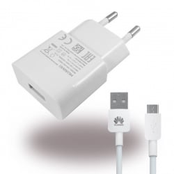 Huawei Φορτιστής + Γνήσιο Καλώδιο Huawei HW-050200E01 Micro Usb ORIGINAL Charger Adapter + Cable USB 2000mA White Bulk