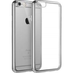 iPhone 5 / 5s Θήκη Σιλικόνης Με Διάφανη Πλάτη Και Ασημί Περίγραμμα Silicone Clear Case Transparent / Silver