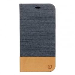 Samsung Galaxy Grand Prime Θήκη Βιβλίο Σκούρο Γκρί - Καφέ Flip Canvas Telone Book Case Dark Grey - Brown