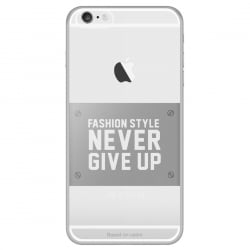 iPhone 6 / 6s Θήκη Σιλικόνης Διάφανη / Ασημί Never Give Up Baseus Silicone Case Transparent / Silver