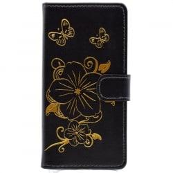Huawei P8 Lite Θήκη Βιβλίο Μαύρο Με Λουλούδια Book Case Black