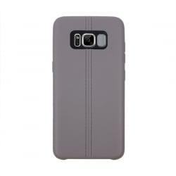 Samsung Galaxy S8 Θήκη Σιλικόνης Γκρι Double Line Smooth Surface Anti - Collision Silicone Case Grey