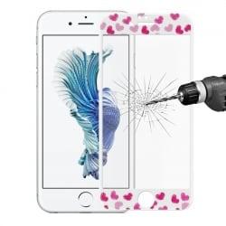 "iPhone 6 / 6s 0.15mm ""Καρδούλες"" ENKAY Full Screen Ultra-thin 9H 3D Προστατευτικό Τζαμάκι Λευκό Tempered Glass"