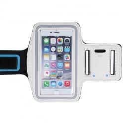 GreenGo Sports Εως 5.0''- Armband for Smartphones 14,2cm x 7,2cm Λευκό -Μαυρο Με Μπλε Γραμμή