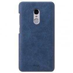 Xiaomi Redmi Note 4X Σκληρή Θήκη Με Μπλε Δερμάτινη Πλάτη Mofi Leather Hard Case Dark Blue