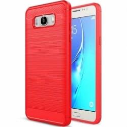 Samsung Galaxy J7 2016 Θήκη Σιλικόνης Κόκκινη HAWEEL Brushed Carbon Fiber Silicone Case Red
