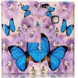 Huawei P10 Lite Θήκη Βιβλίο Μπλε Πεταλούδες Book Case