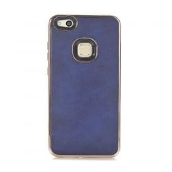 Huawei P10 Lite Leather Case Θήκη Με Μπλε Δερμάτινη Πλάτη Και Χρυσό Περίγραμμα