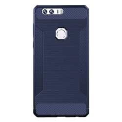 Honor 8 Brushed Texture Carbon Fiber Anti - Slip TPU Θήκη Σιλικόνης Σκούρο Μπλε Silicone Case Dark Blue