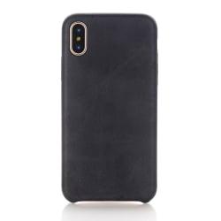 iPhone X Σκληρή Θήκη Με Μαύρη Δερμάτινη Πλάτη Leather Hard Case Black