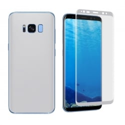 Samsung Galaxy S8 0.1mm Full Curved Front + Back Soft Full Screen Protector Silver Ασημί