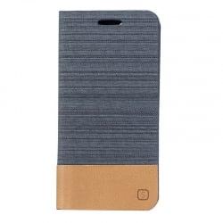 iPhone 7 / 8 Θήκη Βιβλίο Σκούρο Γκρί - Καφέ Flip Canvas Telone Book Case Dark Grey - Brown