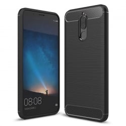 Huawei Mate 10 Lite Brushed Carbon Fiber Texture Shockproof TPU Θήκη Σιλικόνης Μαύρη Silicone Case Black