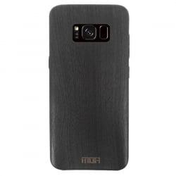 Samsung Galaxy S8 Mofi Θήκη Μαύρη TPU Leather Wood Case Black