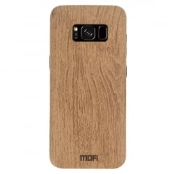 Samsung Galaxy S8 Mofi Θήκη Ανοιχτό Καφέ TPU Leather Wood Case Light Brown