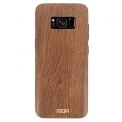 Samsung Galaxy S8 Mofi Θήκη Σκούρο Καφέ TPU Leather Wood Case Dark Brown