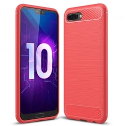 Honor 10 Brushed Carbon Fiber Texture Shockproof TPU Θήκη Σιλικόνης Κόκκινο Silicone Case Red