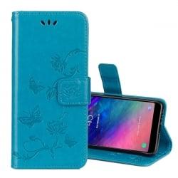 Samsung Galaxy A6 2018 Θήκη Βιβλίο Μπλέ Με Πεταλούδες Book Case Blue