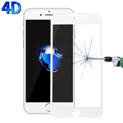 iPhone 7 Plus / 8 Plus 4D 0.26mm 9H Surface Hardness 3D Explosion-proof Προστατευτικό Τζαμάκι Λευκό Tempered Glass White
