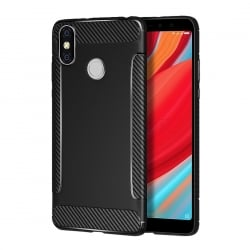 Xiaomi Redmi S2 Θήκη Σιλικόνης Brushed Carbon Fiber Μαύρη Black Silicone Case