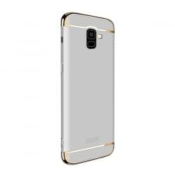 Samsung Galaxy J6 2018 Mofi Ultra-Thin Electroplating Side Protective Σκληρή Θήκη Ασημί Με Χρυσό Περίγραμμα Hard Case Silver