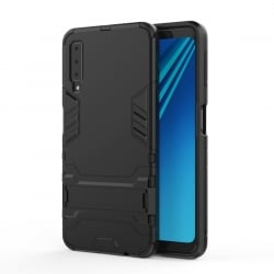 Samsung Galaxy A7 2018 Σκληρή Θήκη Σιλικόνης Shockproof Protective Case with Holder Silicone Case Black