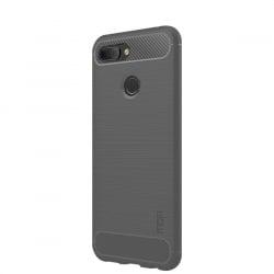 Huawei Honor 8X Θήκη Σιλικόνης Armor Brushed Carbon Fiber Γκρι Silicone Case Grey