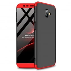Samsung Galaxy J6 Plus GKK Full Coverage Protective Σκληρή Θήκη Μαύρο Κόκκινο Hard Case Black - Red