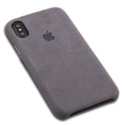iPhone XS Max Alcantara Θήκη Σκληρή Γκρι Σουέτ Hard Case Grey