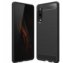 Huawei P30 Brushed Carbon Fiber Texture Shockproof TPU Θήκη Σιλικόνης Μαύρη Silicone Case Black