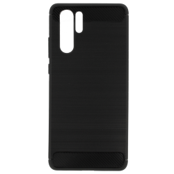 Huawei P30 Pro Brushed Carbon Fiber Texture Shockproof TPU Θήκη Σιλικόνης Μαύρη Silicone Case Black