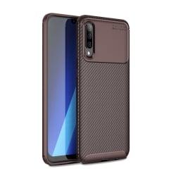 Samsung Galaxy A70 Θήκη Σιλικόνης Καφέ Carbon Fiber Silicone Case Brown
