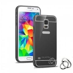 Samsung Galaxy S5 / S5 Neo Θήκη Αλουμινίου Με Πλάτη Καθρέφτη Ανθρακί Mirror Hard Case Dark Grey
