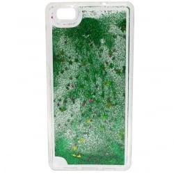 Huawei P8 Lite Θήκη Σιλικόνης Με Κινούμενη Χρυσόσκονη Πράσινη Silicone Case Liquid Glitter Green