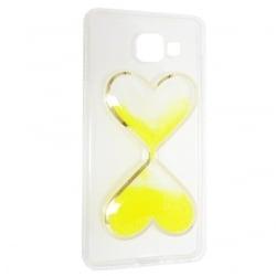 Samsung Galaxy A3 2016 Θήκη Σιλικόνης Καρδούλες Με Κινούμενη Χρυσόσκονη Κίτρινη Silicone Case Liquid Glitter Yellow