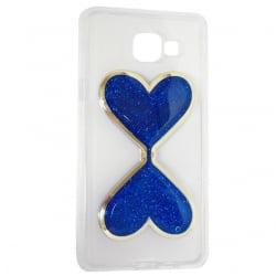 Samsung Galaxy A3 2016 Θήκη Σιλικόνης Καρδούλες Με Κινούμενη Χρυσόσκονη Μπλέ Silicone Case Liquid Glitter Blue