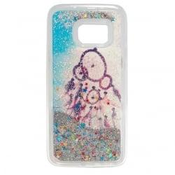 Samsung Galaxy S7 Θήκη Σιλικόνης Ονειροπαγίδα Με Κινούμενη Χρυσόσκονη Ασημί Silicone Case Liquid Glitter Silver