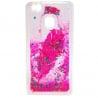 Huawei P9 Lite Θήκη Σιλικόνης Με Κινούμενη Χρυσόσκονη Φτερό Ροζ Silicone Case Liquid Glitter Pink