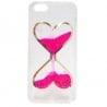 iPhone 5 / 5s Θήκη Σιλικόνης Καρδούλες Με Κινούμενη Χρυσόσκονη Ροζ Silicone Case Liquid Glitter Pink